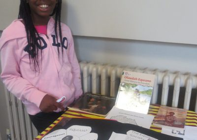 A student at Croydon Supplementary Education Project displays her Equiano work